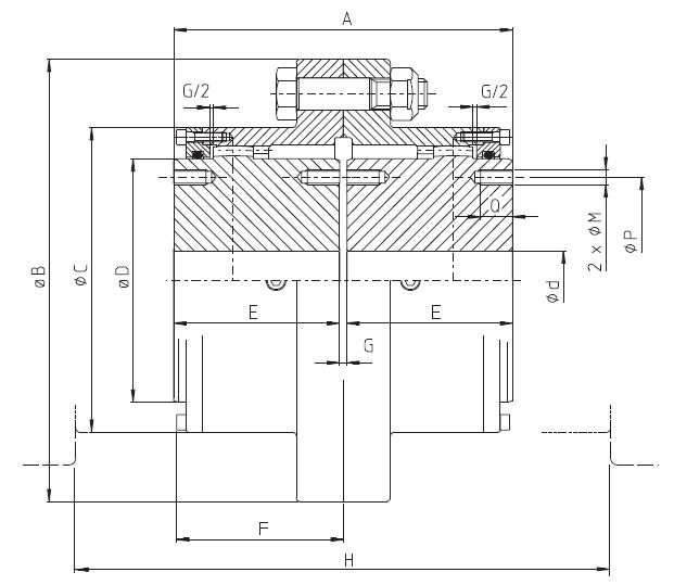 ابعاد کوپلینگ دنده ای - Gear Coupling